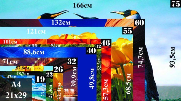 Диагонали и размеры современных ТВ