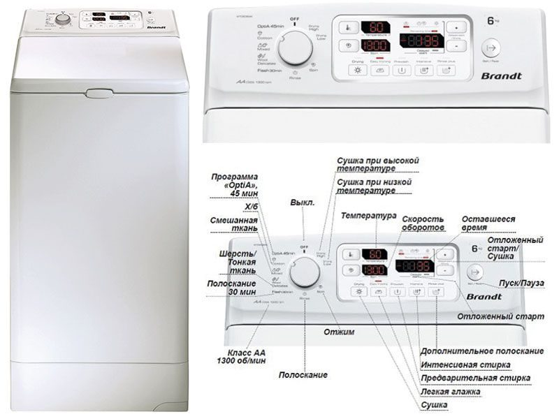 Вертикальная стиральная машина Brandt WTD 6384 K
