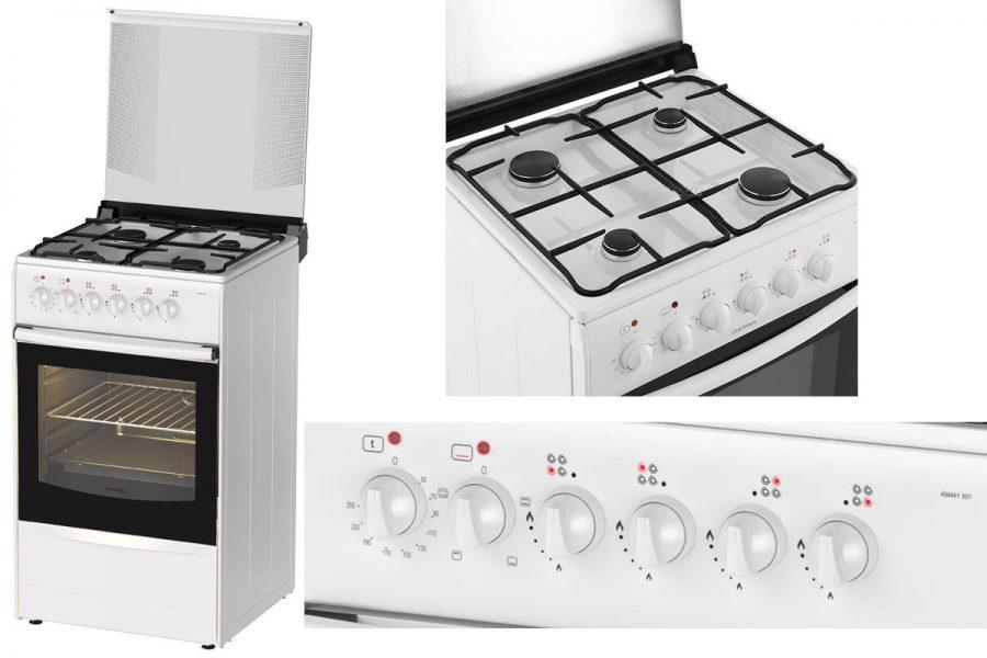 Бюджетная газовая плита с электрической духовкой DARINA B KM441 301 W