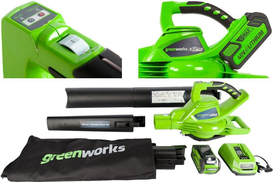 Отличная садовая аккумуляторная воздуходувка-пылесос Greenworks GD40BVK2X