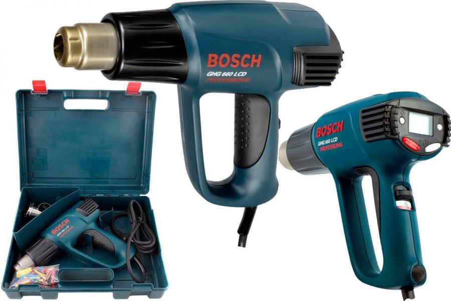 Лучший профессиональный строительный фен BOSCH GHG 660 LCD Professional nozzle x2 Case
