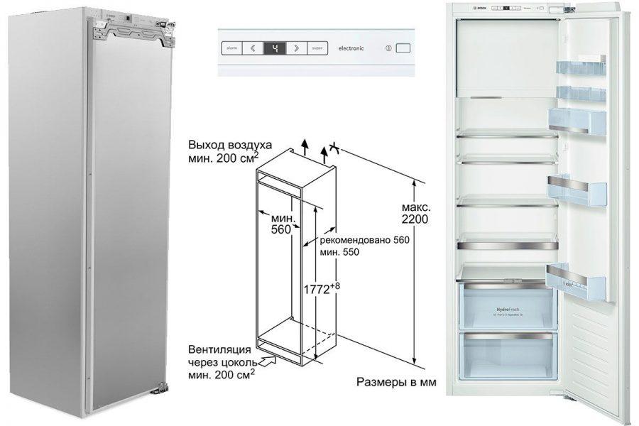 Встраиваемые холодильники Bosch с морозильным отделением