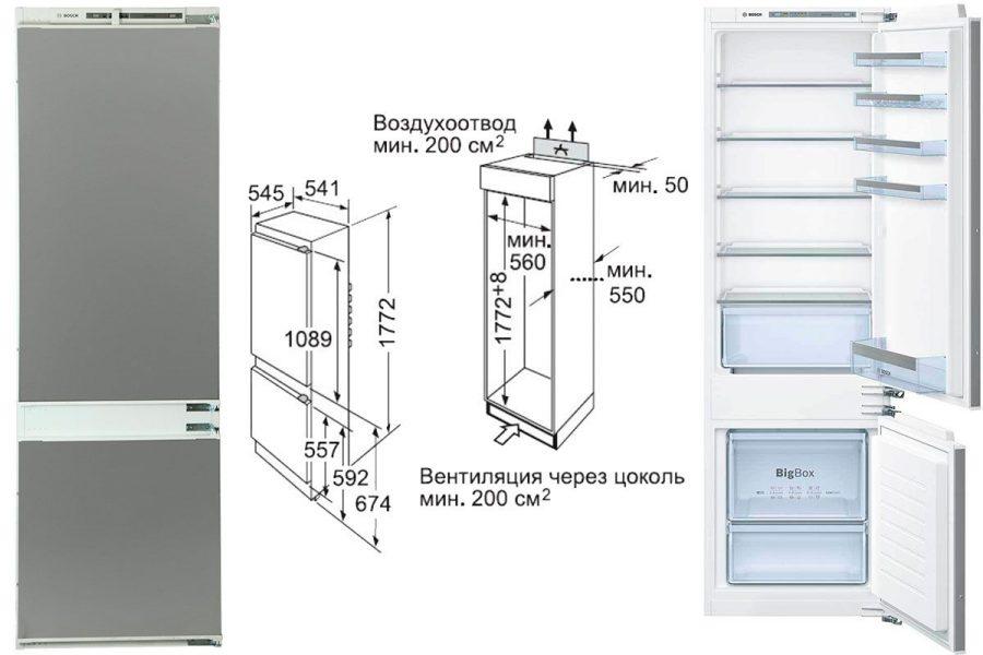 Встраиваемые холодильники Bosch с нижней морозилкой